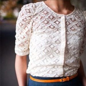 NWT Anthro Back Porch Lace Snap front Blouse top